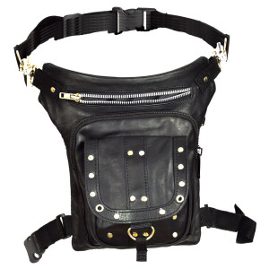 Vance VA561 Men and Women Black Leather Multi-Function Concealed Carry Biker Motorcycle Drop Leg Fanny Pack Thigh Bag