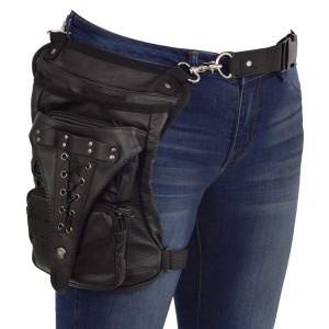 VA560 Black Carry Leather Thigh Bag with Waist Belt