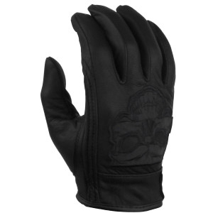 Mens GL703 Black Premium Gel Palm Reflective Skull Motorcycle Leather Gloves