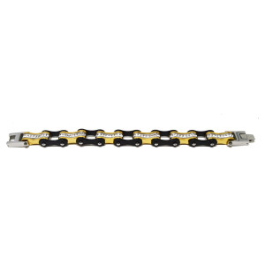 VJ1113 Womens Two Tone Black and Gold Bracelet with White Crystal Stainless Steel Lady Biker Bracelet