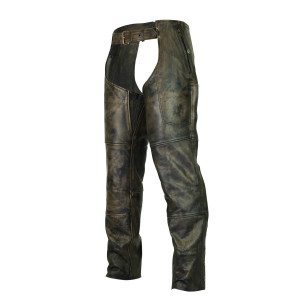 High Mileage HM811DB Men and Women Premium Cowhide Vintage Distressed Brown Jean Style Leather Motorcycle Chaps