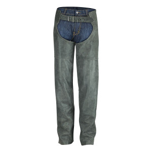 High Mileage Distressed Grey Leather Chap