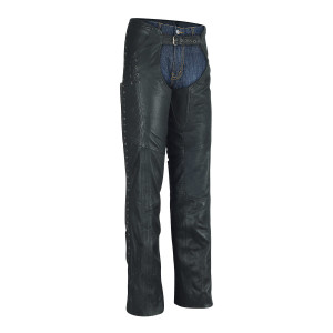 Ladies Top Grain Goatskin Leather Chaps with Grommeted Twill and Lace
