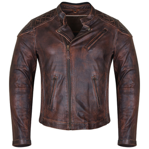 High Mileage HMM521VB Men's Vintage Brown Premium Cowhide Diamond Quilted Shoulder Leather Biker Motorcycle Riding Jacket
