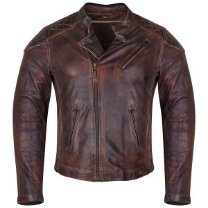 High Mileage HMM521VB Men's Vintage Brown Premium Cowhide Diamond Quilted Shoulder Leather Biker Motorcycle Riding Jacket