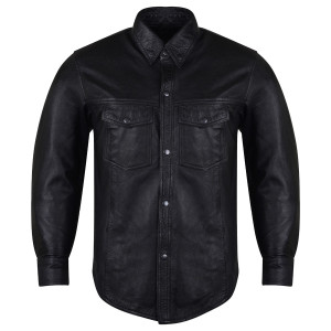 High Mileage HMM504 Men's Concealed Carry Black Premium Cowhide Leather Biker Motorcycle Shirt