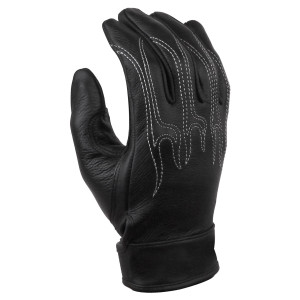 Vance GL708 Mens Black Flame Embroidery Gel Palm Premium Leather Motorcycle Gloves