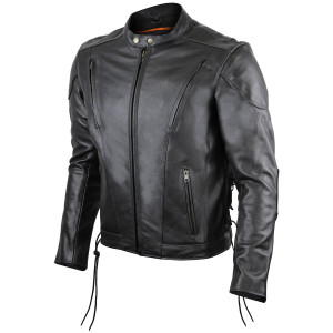Vance Mens VL511 Black Vented Scooter Motorcycle Leather Riding Jacket