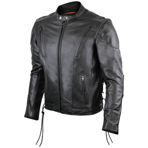 Vance VL511 Mens Black Premium Cowhide Vented Scooter Racer Motorcycle Leather Riding Jacket