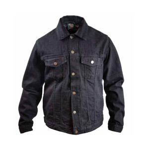 Mens Black Heavy Duty Denim Button Front Shirt Jacket