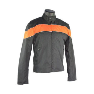 Motorcycle Jacket with Reflective Rear Skull - Orange