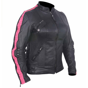 High Mileage HML633 Womens Premium Cowhide Leather Scrunch Sides Lady Biker Motorcycle Jacket - Pink