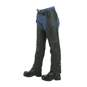 Vance VK801 Kids Boys Girls Childrens Biker Motorcycle Style Black Leather Chaps