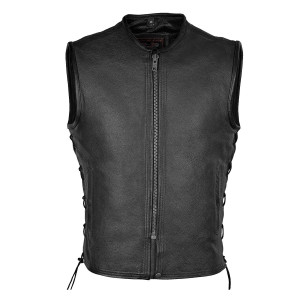 High Mileage HMM931 Mens Black Premium Cowhide Front Zipper Closure Biker Motorcycle Leather Vest