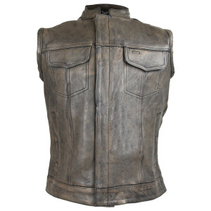 Distressed Brown Motorcycle Club Leather Vest
