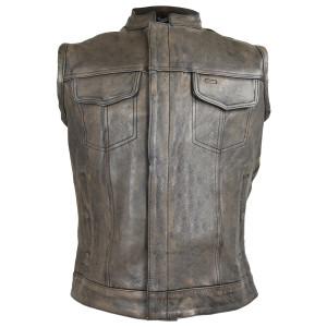 High Mileage HMM914DB Mens Premium Cowhide Distressed Brown SOA Style Biker Club Leather Motorcycle Vest