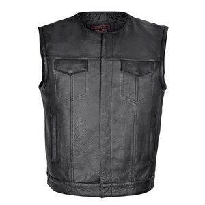 Men's Premium Leather Club Vest with Quick Access Conceal Carry Pocket