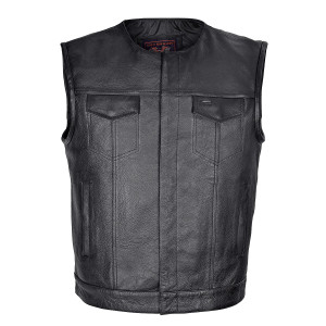 High Mileage HMM919 Mens Black Premium Cowhide Leather SOA Style Club Vest With Quick Access Conceal Carry Pocket