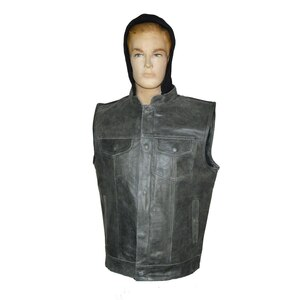 High Mileage HMM914HDG Mens Premium Cowhide Distressed Gray SOA Style Biker Club Leather Motorcycle Vest With Hoodie