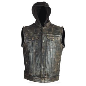 High Mileage HMM914HDB Mens Premium Cowhide Distressed Brown SOA Style Biker Club Leather Motorcycle Vest With Hoodie