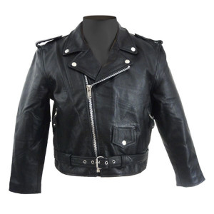 Vance VK515 Children's Kids Boys Girls Black Leather Biker Motorcycle Jacket