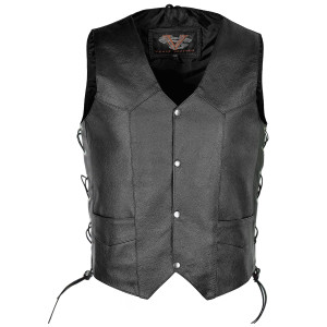 Vance VL902S Mens Black Side Lace Leather Vest