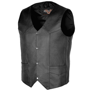 Vance VL921 Men's Black Premium Cowhide Biker Leather Motorcycle Vest