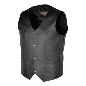 Vance VL921S Men's Black Biker Leather Motorcycle Vest