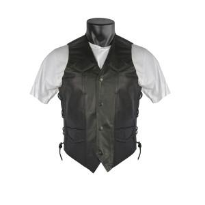 Vance VL923 Men's Black Premium Cowhide Leather Biker Motorcycle Vest
