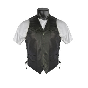 Vance VL923 Men's Black Premium Cowhide Leather Biker Motorcycle Vest