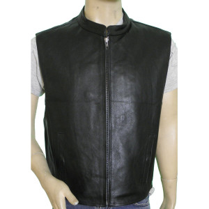Vance VL930 Men's Black Zipper Front Premium Cowhide Leather Biker Motorcycle Vest