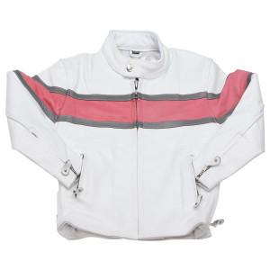 Girls White Pink Cowhide Leather Biker Motorcycle Jacket
