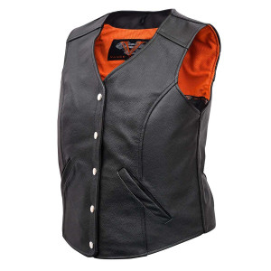 Vance VL1047S Womens Black Five Snap Lady Biker Leather Motorcycle Vest