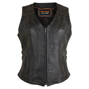 High Mileage HML1037DB Womens Distressed Brown Premium Cowhide Biker Motorcycle Leather Vest With Buckles