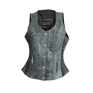High Mileage HML1038DG Womens Distressed Gray Premium Soft Goatskin Leather Vest With Twill Lace and Grommet Highlights