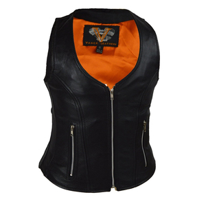 Vance VL1030 Womens Black Zip Pocket Lady Biker Leather Motorcycle Vest