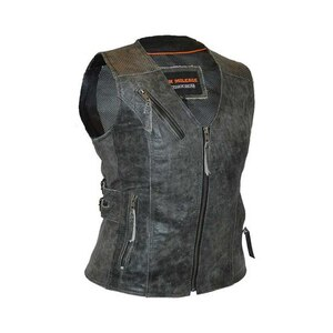 High Mileage HML1037DG Womens Distressed Gray Premium Cowhide Biker Motorcycle Leather Vest With Buckles