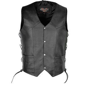 Vance Leather Premium Leather Lace Side Vest with Conceal Carry Pocket