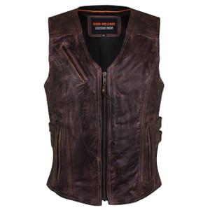 High Mileage HML1037VB Womens Vintage Brown Premium Cowhide Biker Motorcycle Leather Vest With Buckles