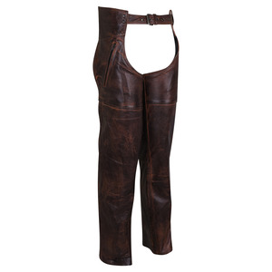 High Mileage HM814VB Men's and Women's Vintage Distressed Brown Biker Motorcycle Leather Chaps - Side View