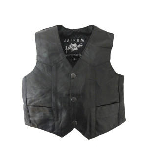 KV738 Kids Childrens Boys Girls Biker Motorcycle Style Black Leather Vest