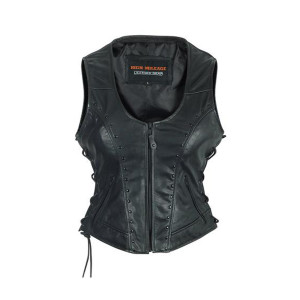 High Mileage HML1043 Womens Lady Biker Leather Motorcycle Vest With Studs