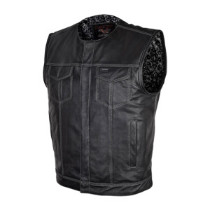 High Mileage Zipper And Snap Closure Leather Club Vest Quick Access Conceal Carry Pocket