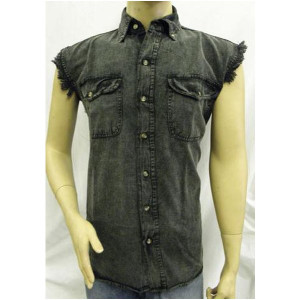 Vance Mens Biker Motorcycle Charcoal Acid Wash Cut Off Sleeveless Shirt
