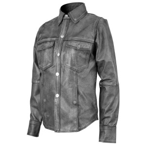 High Mileage HML604 Women's Soft Lambskin Lady Biker Motorcycle Leather Shirt