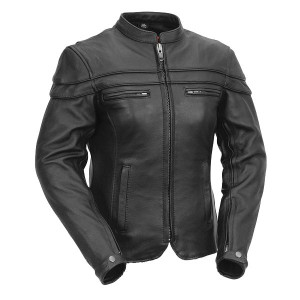 Vance Leather VL631 Women's Black Soft Cowhide Leather Sporty Scooter Crossover Biker Motorcycle Riding Jacket - Front