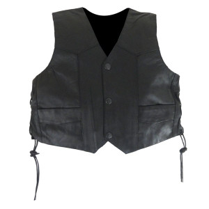 KV739 Kids Childrens Boys Girls Biker Motorcycle Style Black Laced Side Leather Vest