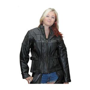 Vance Leather Ladies Leather Black Stripe Racer Jacket