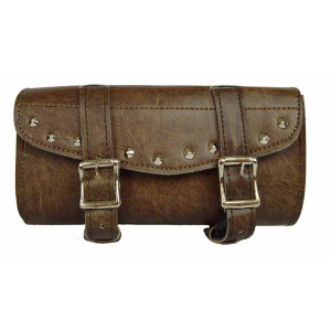 Vance Leather Distressed Brown 2 Strap Studded Tool Bag