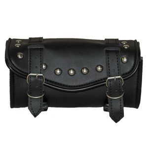 Vance Leather Hard Shell 2 Strap Studded Tool Bag With V-Shaped Flap